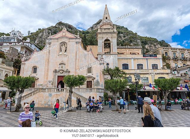 San Giuseppe Church on Piazza 9 Aprile in Taormina comune in Metropolitan City of Messina, on east coast Sicily Island in Italy