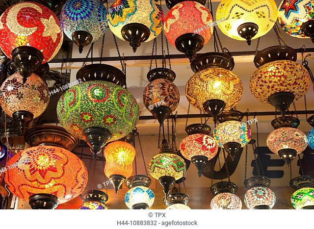 Turkey, Istanbul, Sultanahmet, Grand Bazaar, Glassware Lamp Shop Display