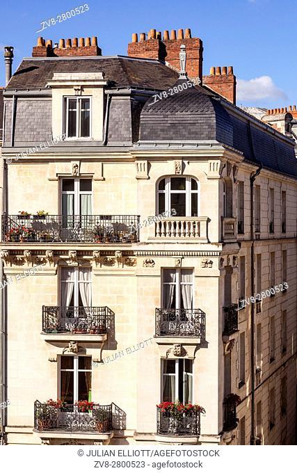 Typical building facade in Nantes, France