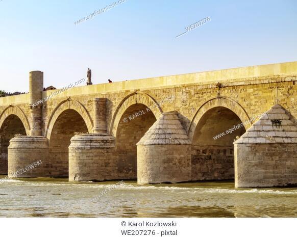 Roman Bridge of Cordoba and Guadalquivir River, Cordoba, Andalusia, Spain