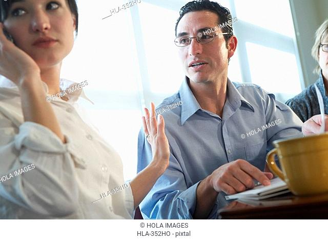 Businesswoman talking on a mobile phone and gesturing to a businessman