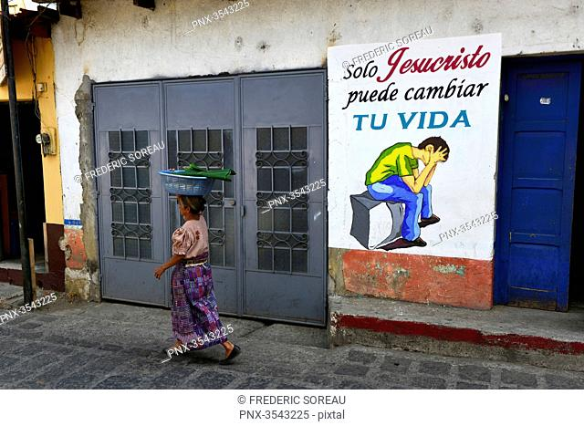 Christian evangelical message painted on wall in San Pedro la Laguna,lake atitlan, Guatemala, Central America