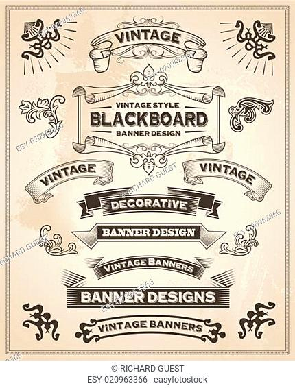 Vintage retro hand drawn banners