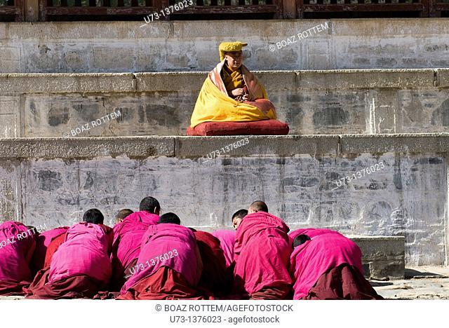 A Tibetan Buddhist ceremony conducted by a high Lama at Labrang monastery