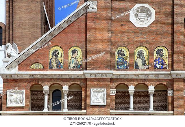 Hungary, Szeged, Votive Church with ornamental paintings and sculptures
