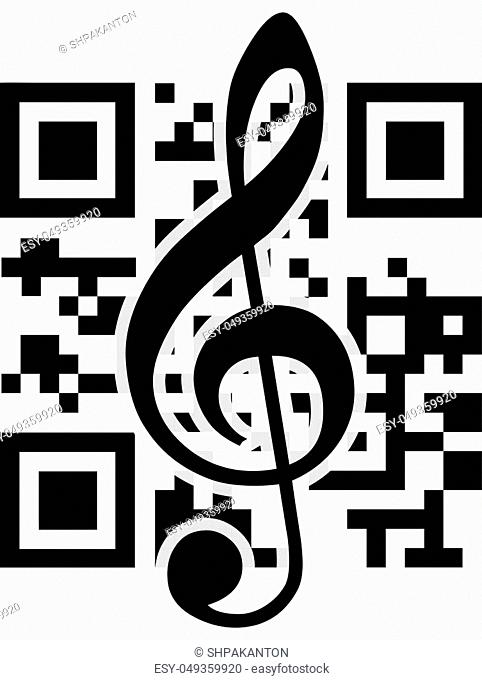 2D barcode and treble clef. Vector illustration