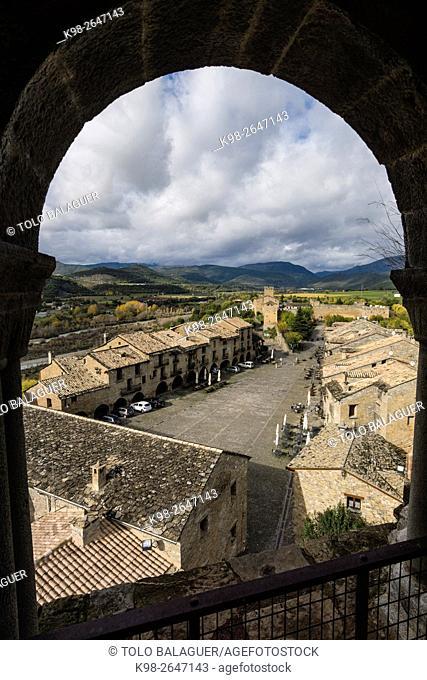 Aínsa village from belltower of Santa María church. Huesca province, Aragón, Spain