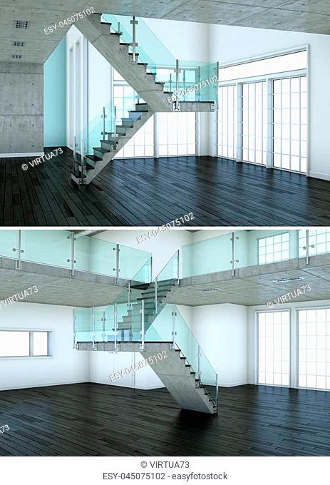 Two views of modern interior loft design with stairway 3d Rendering