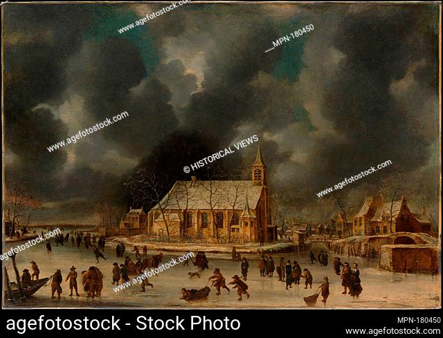 Skating at Sloten, near Amsterdam. Artist: Johannes Abrahamsz Beerstraten (Dutch, Amsterdam 1622-1666 Amsterdam); Medium: Oil on canvas; Dimensions: 36 1/4 x 51...