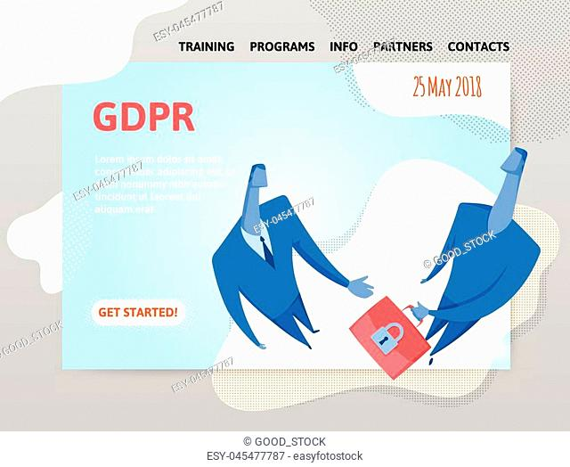 GDPR date. General Data Protection Regulation. Two businessmen exchanging information. Design template of website, poster, print media