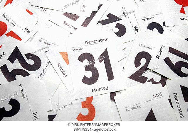Sheets of a tear-off calendar