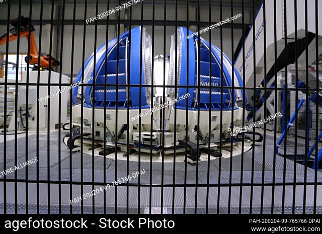 03 February 2020, Bavaria, Augsburg: A tank section of an Ariane 6 rocket is located in a welding machine in a production hall of the space technology company...
