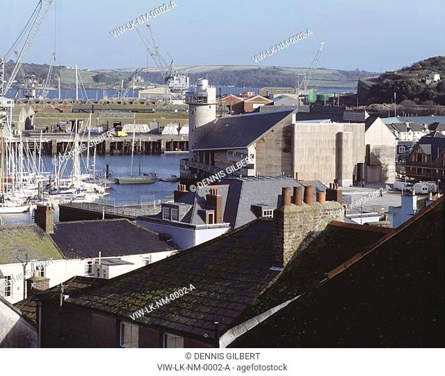 NATIONAL MARITIME MUSEUM, DISCOVERY QUAY, FALMOUTH, CORNWALL, UK, LONG AND KENTISH, EXTERIOR, VIEW FROM TOWN WITH DOCKS AND MARINA