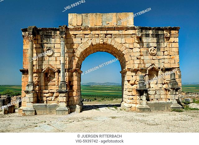 MOROCCO, VOLUBILIS, 24.05.2016, North side of the Arch of Caracalla, Volubilis, Morocco, Africa - Volubilis, Morocco, 24/05/2016