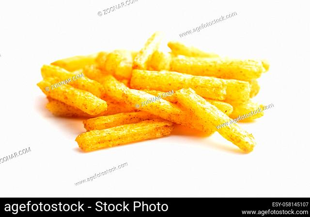 French fries. Salted snack. Potato chips isolated on white background