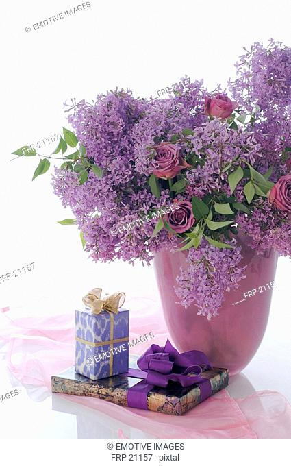Bunch of lilacs and gifts