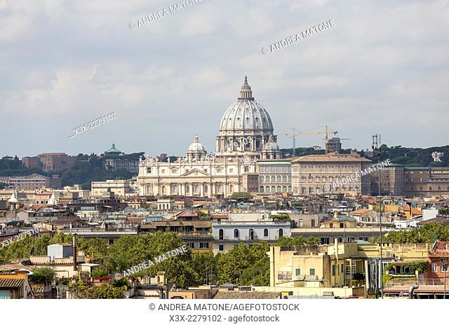 Saint Peter's square and the roman rooftops. Rome, Italy