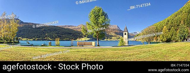 Church tower in Lake Reschen Panorama, Graun, Reschen, Trentino-Alto Adige, Italy, Europe