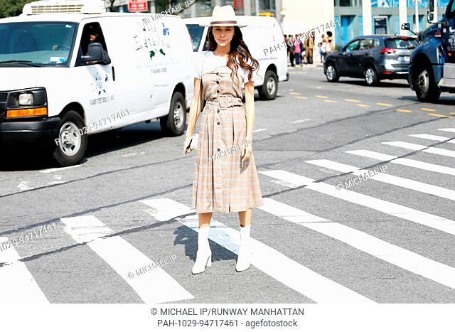 Mary Leest posing outside of the Zimmermann runway show during New York Fashion Week - Sept 11, 2017 - Photo: Runway Manhattan/Michael Ip ***For Editorial Use...