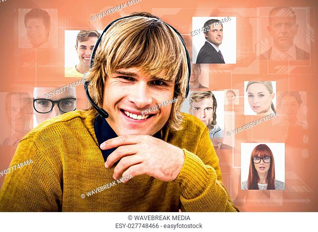 Composite image of smiling hipster businessman using headset