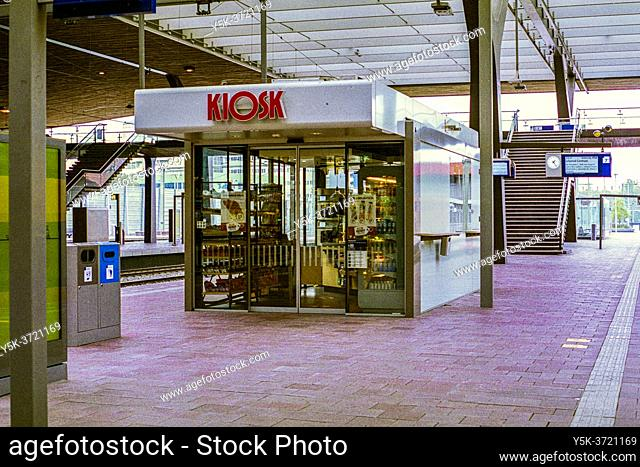 Rotterdam, Netherlands. Central Railway Station's Kiosk, closed due to Corona