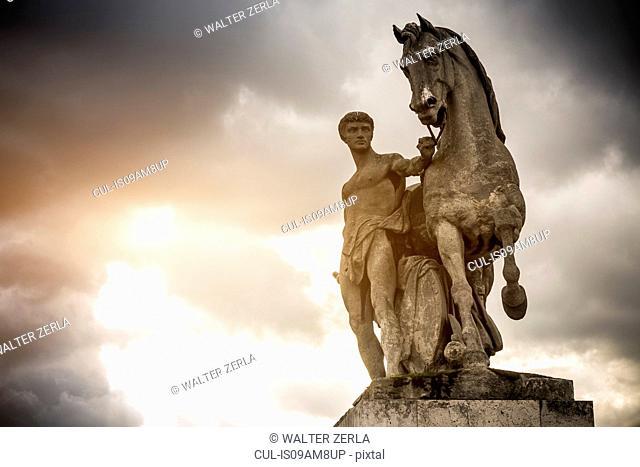 Roman warrior statue on Pont d'iena (bridge), Paris, France