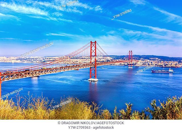 Bridge of 25th April over river Tajo, Lisbon, Portugal