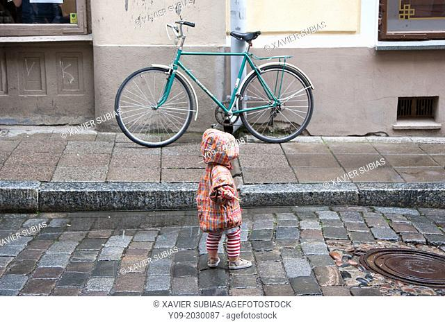 Bicycle in the street, Tallinn, Harju, Estonia