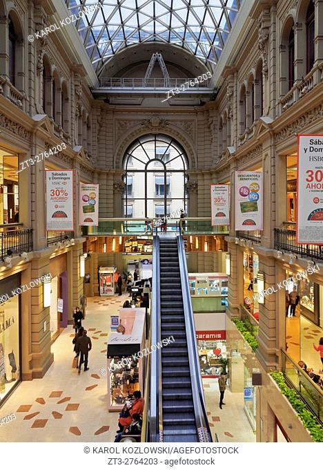 Argentina, Buenos Aires, Intersection of Florida Street and Cordoba Avenue, Interior view of the Galerias Pacifico Shopping Centre