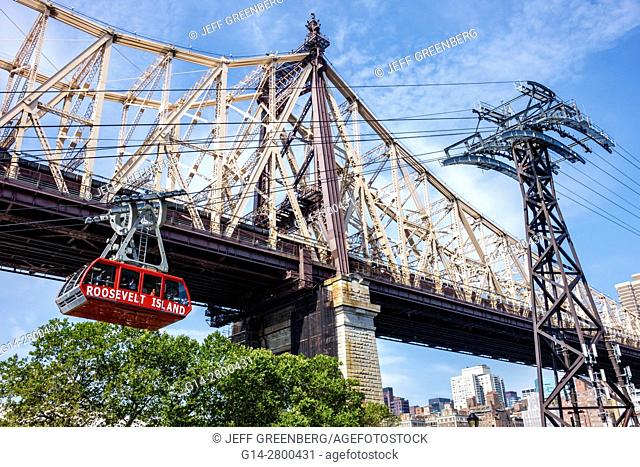 New York, New York City, NYC, East River, Roosevelt Island Tram, commuter aerial tramway, Ed Koch Queensboro Bridge, support tower