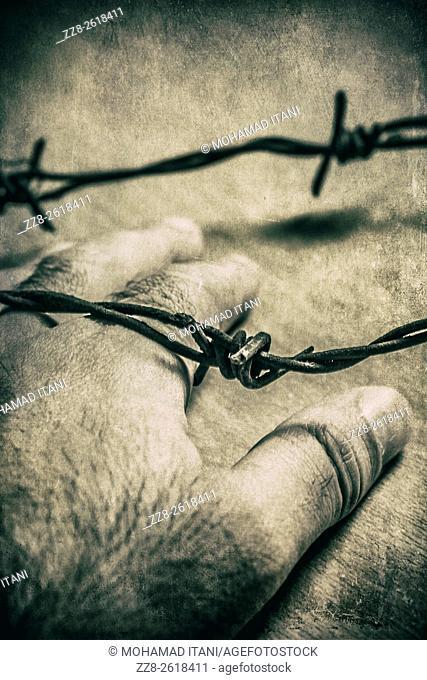 Man's hand under a barbed wire