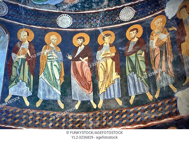 Interior Byzantine Romanesque style Christian frescoes, Santissima Trinita di Saccargia, consecrated 1116 AD, Codrongianos, Sardinia