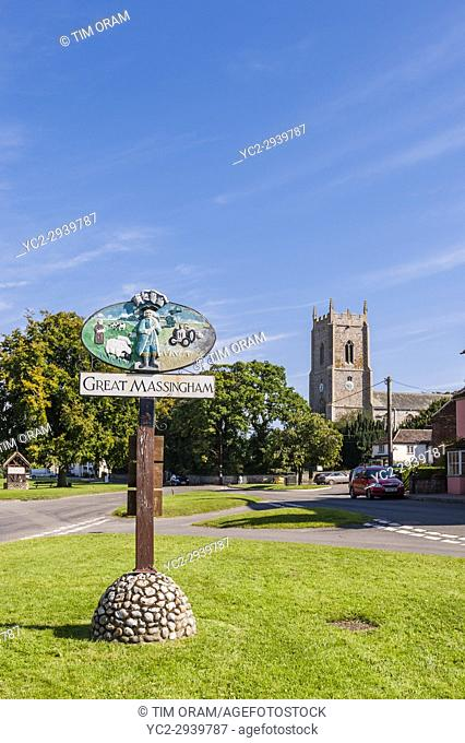The village sign of Great Massingham in Norfolk , England , Britain , Uk