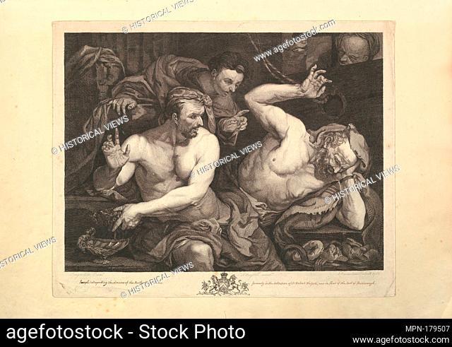 Joseph Interpreting the Dreams of Pharoah's Butler and Baker. Engraver: Alexander Bannerman (British, Cambridge (?) ca. 1730-ca