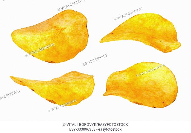 Set of separate chips closeup isolated on white background
