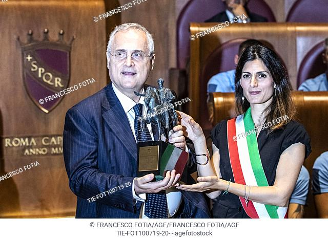 President of the S.S. Lazio Claudio Lotito, Mayor of Rome Virginia Raggi during the prizegiving at Campidoglio Palace, Rome, ITALY-10-07-2019