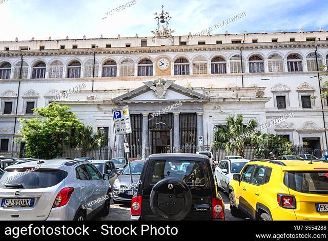 Banca Carige building on Monte di Pieta square in Palermo, capital of autonomous region of Sicily in Southern Italy