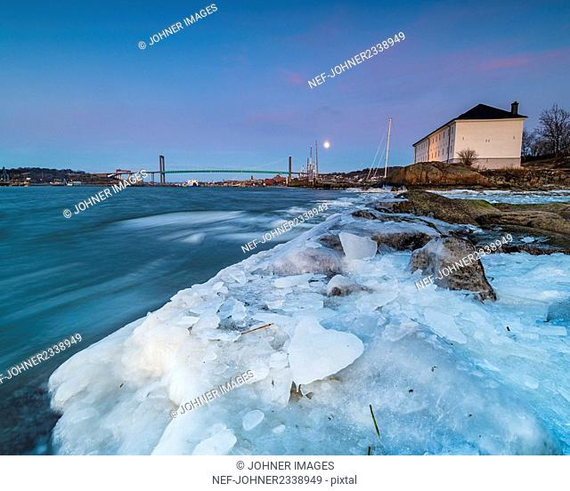 Ice covering coast