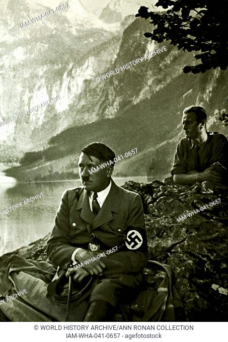 Adolf Hitler 1889-1945. German politician and the leader of the Nazi Party with local supporters at a lakeside viewing spot at Berchtesgaden