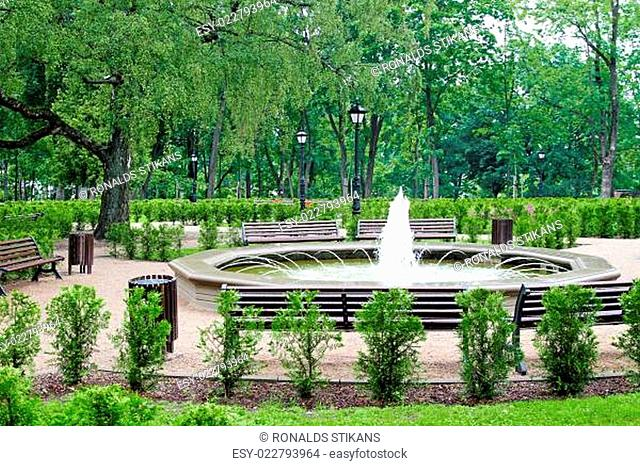 green city park with fountain