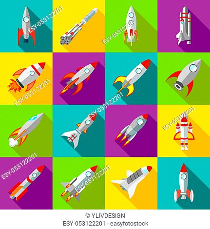 Space rocket icons in flat style. Spaceship set collection illustration