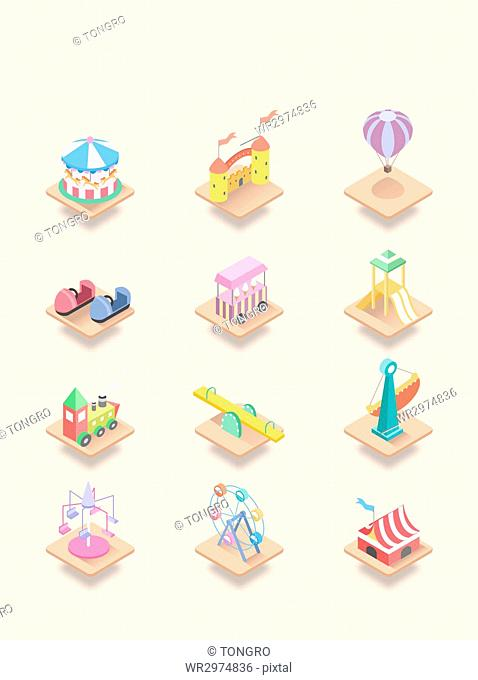 Various icons related to amusement park