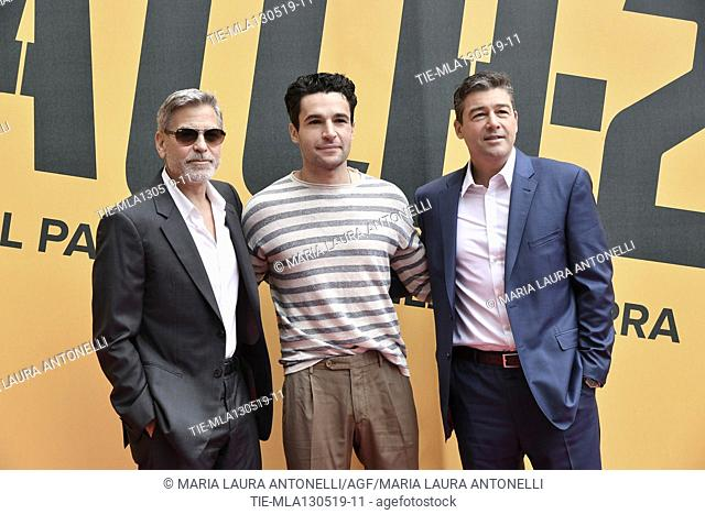George Clooney, Christopher Abbott, Kyle Chandler during the photocall of fillm tv Catch-22, Rome, ITALY-13-05-2019