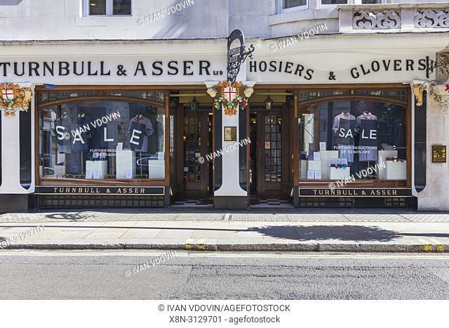 Turnbull & Asser fashion shop, Jermyn Street, Piccadilly, London, England, UK