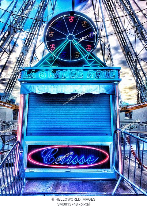 Ticket office for a big ferris wheel ride, Clermont Ferrand, Auvergne, France, Europe