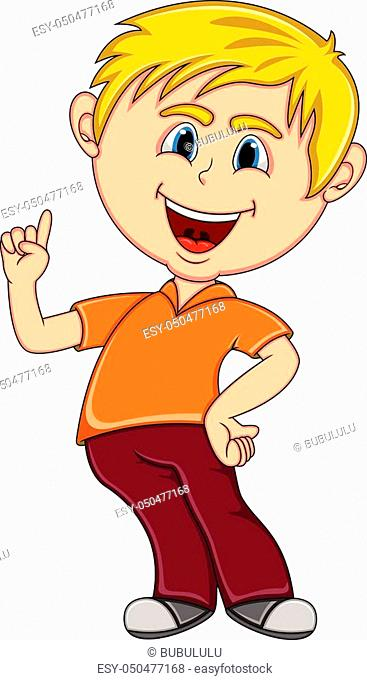 Little boy pointing his finger cartoon - full color