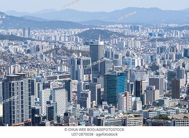 Aerial view, skyline, Seoul, South Korea