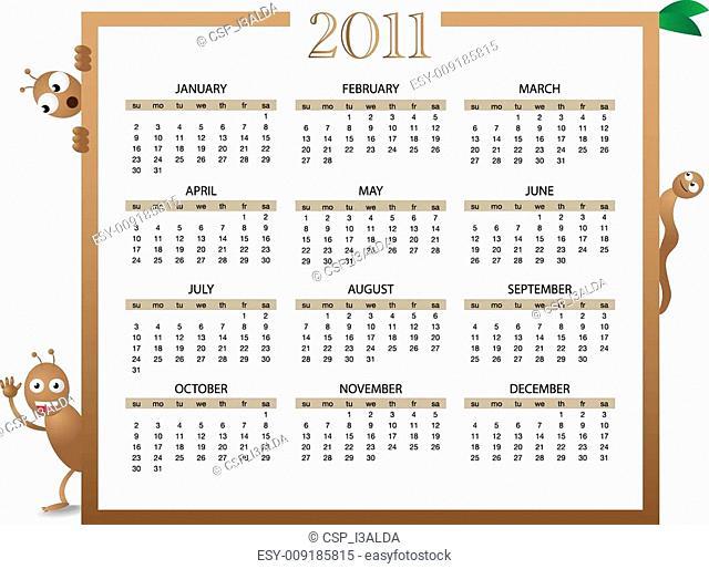 calendar 2011 with bugs