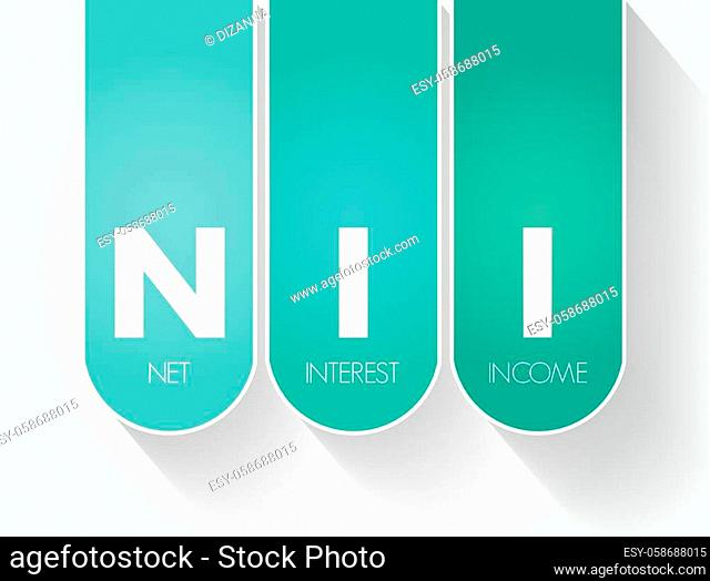 NII - Net Interest Income acronym, business concept background