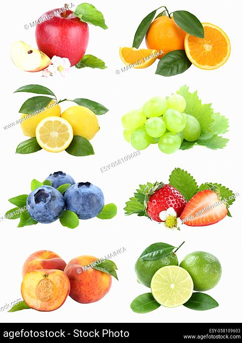 Food collection fruits apple orange berries blueberries apples oranges fresh fruit isolated on a white background